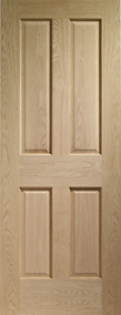 Internal Oak Doors Victorian 4 Panel with No Raised Mouldings