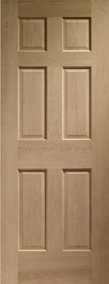 Internal Oak Doors Colonial 6 Panel with No Raised Mouldings