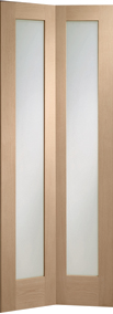 Internal Oak Doors Pattern 10 Bi-Fold with Clear Glass